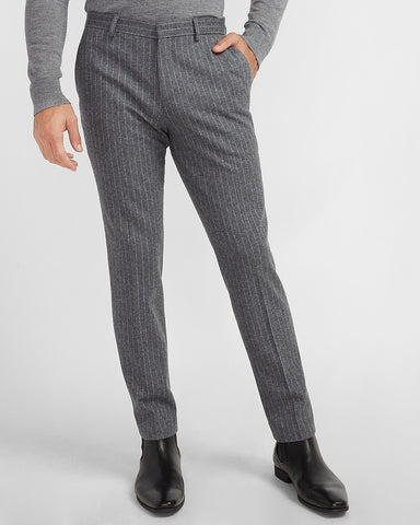 Slim Striped Gray Luxe Comfort Knit Suit Pant in Heather Gray