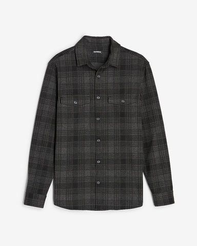 Slim Plaid Supersoft Flannel Shirt in Charcoal Gray