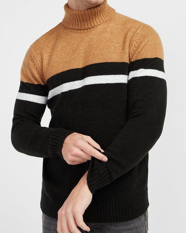 Cozy Striped Turtleneck Sweater in Camel