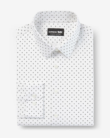 Slim Geo Print Stretch Cotton 1Mx Dress Shirt in White