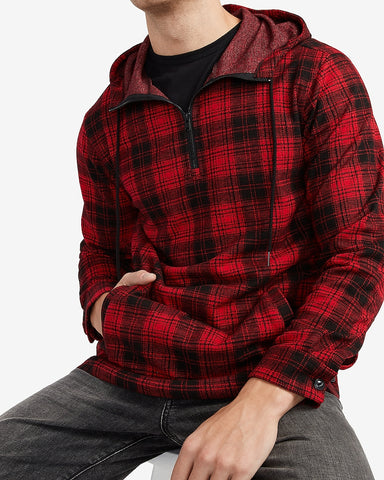 Plaid Supersoft Quarter Zip Flannel Hooded Popover in Kodak Red