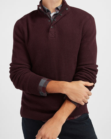 Solid Mock Neck Sweater in Merlot