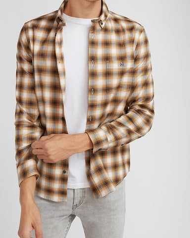 Slim Plaid Stretch Flannel Shirt in Dark Brown