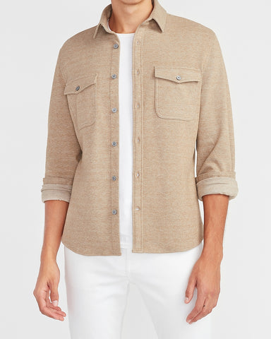 Slim Solid Supersoft Flannel Shirt in Camel