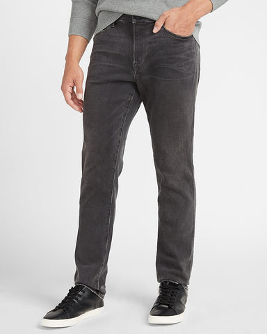 Slim Faded Black Luxe Comfort Knit Jeans in Gray