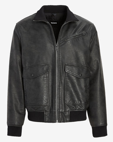 Vegan Leather Bomber Jacket in Jet Black