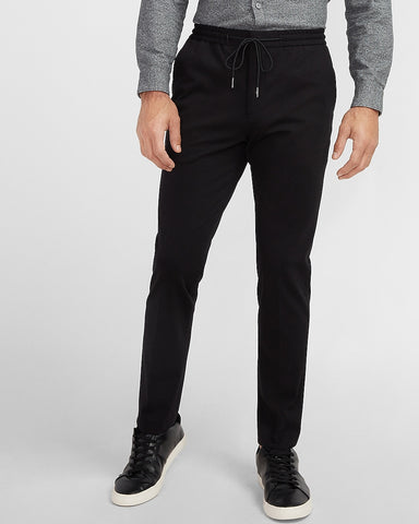 Slim Solid Black Luxe Comfort Knit Drawstring Suit Pant in Black