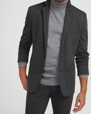 Extra Slim Solid Charcoal Luxe Comfort Knit Suit Jacket in Charcoal Gray