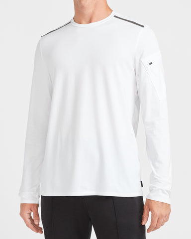Shoulder Stripe Long Sleeve Crew Neck T-Shirt in Pure White