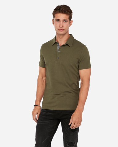 Solid Performance Polo in Olive Green