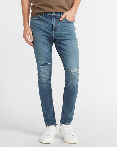 Skinny Medium Wash Temp Control Hyper Stretch Jeans in Medium Wash