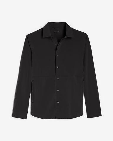 Slim Solid Temp Control Shirt Jacket in Jet Black