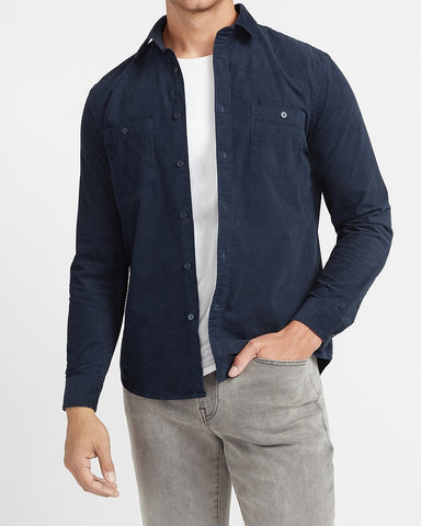 Solid Stretch Corduroy Shirt in Navy Blue
