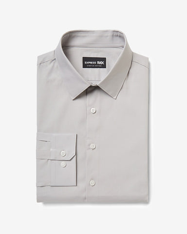 Slim Solid Stretch Cotton 1Mx Dress Shirt in Gray