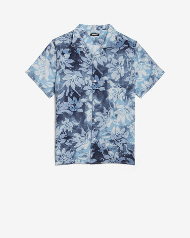 Slim Floral Rayon Short Sleeve Shirt in Surf Blue