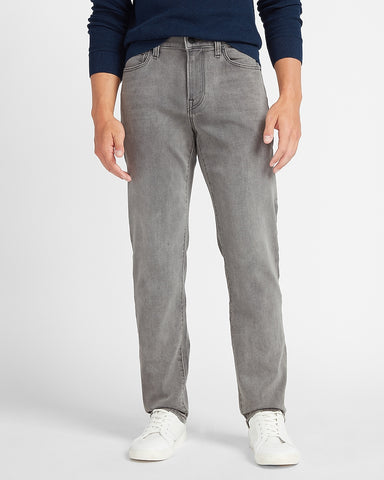 Slim Straight Gray Luxe Comfort Knit Jeans in Gray