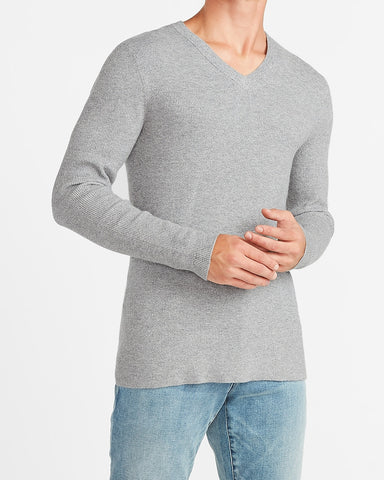 Marled Rayon Stretch V-Neck Sweater in Space Grey Htr