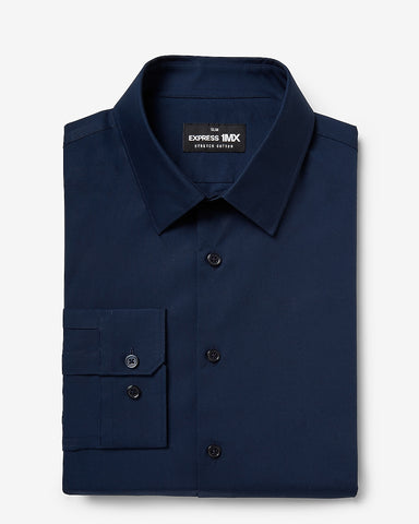 Slim Solid Stretch Cotton 1Mx Dress Shirt in Navy Blue