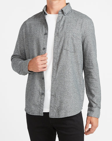 Slim Solid Stretch Flannel Shirt in Gray