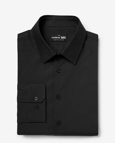 Slim Solid Stretch Cotton 1Mx Dress Shirt in Black