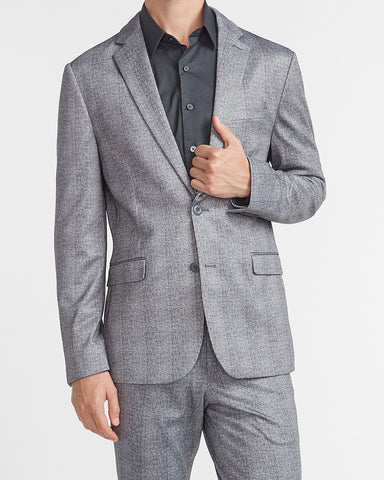 Extra Slim Gray Plaid Luxe Comfort Knit Suit Jacket in Gray