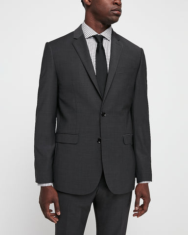 Slim Charcoal Wool Blend Wrinkle-Resistant Performance Suit Jacket in Charcoal