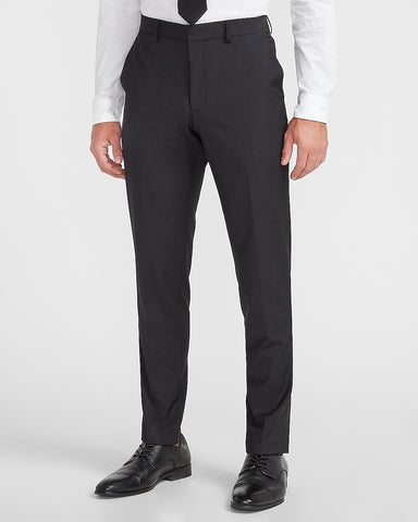 Extra Slim Black Solid Modern Tech Suit Pant in Black