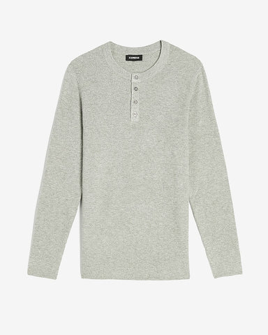 Solid Stretch Henley Sweater in Space Grey Htr
