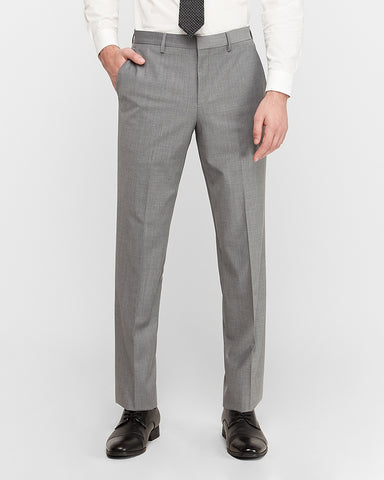 Classic Gray Wool-Blend Performance Stretch Suit Pant in Light Gray