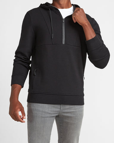 Black Hooded Quarter Zip Sweatshirt in Pitch Black