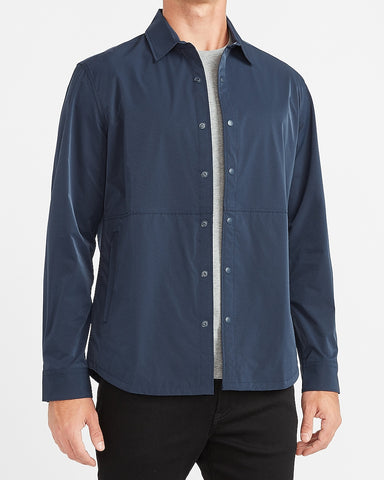 Slim Solid Temp Control Shirt Jacket in Navy