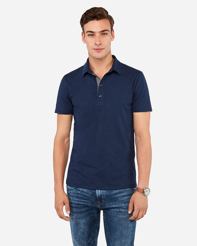 Solid Performance Polo in Indigo