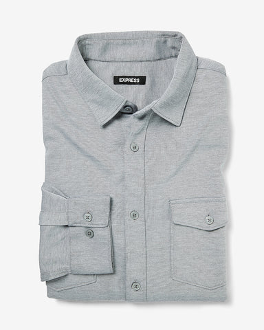 Slim Textured Luxe Comfort Knit Shirt in Gray