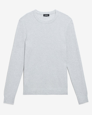 Solid Honeycomb Knit Crew Neck Sweater in White Heather