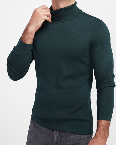 Solid Merino Wool-Blend Turtleneck Sweater in Forest Green