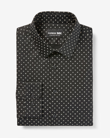 Slim Geo Print Stretch Cotton 1Mx Dress Shirt in Black