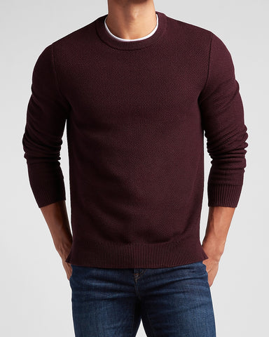 Solid Honeycomb Knit Crew Neck Sweater in Merlot