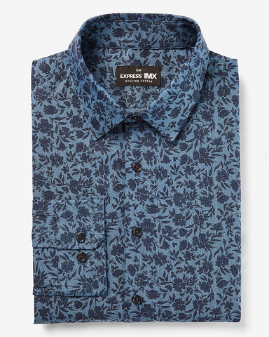 Slim Floral Stretch Cotton 1Mx Dress Shirt in Blue