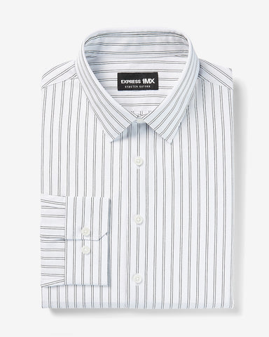 Extra Slim Striped Stretch Cotton 1Mx Dress Shirt in White