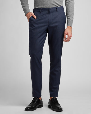 Extra Slim Striped Navy Flannel Suit Pant in Navy Blue