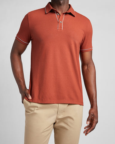Piped Luxe Pique Polo in Rust