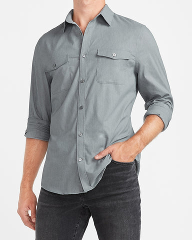 Slim Solid Wrinkle-Resistant Modern Tech Shirt in Heather Gray