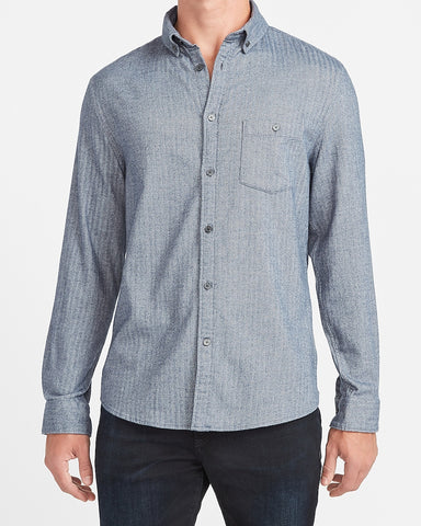 Slim Solid Stretch Flannel Shirt in Navy Blue
