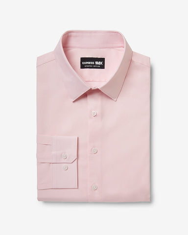 Slim Solid Stretch Cotton 1Mx Dress Shirt in Pink