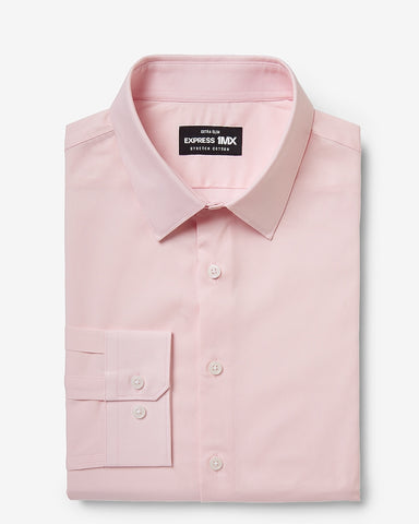 Extra Slim Solid Stretch Cotton 1Mx Dress Shirt in Pink