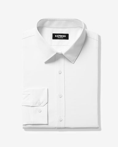 Slim Solid Wrinkle-Resistant Performance Dress Shirt in White