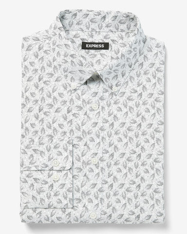 Slim Floral Wrinkle-Resistant Performance Dress Shirt in White