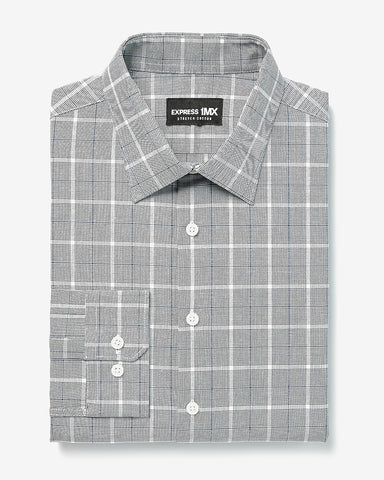 Extra Slim Plaid Stretch Cotton 1Mx Dress Shirt in Navy