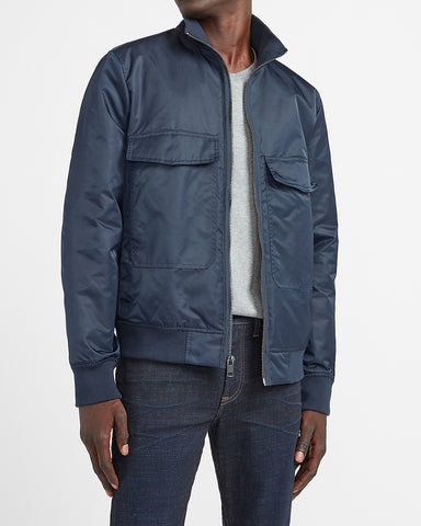 Giant Pocket Water-Resistant Nylon Bomber Jacket in Navy