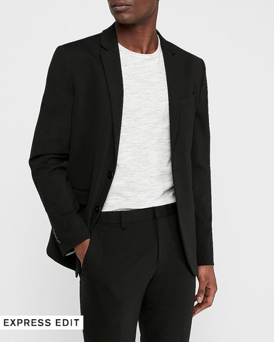 Slim Black Luxe Comfort Knit Suit Jacket in Black